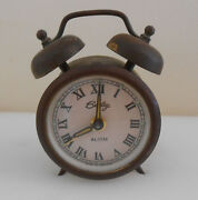 Bradley Alarm Clock Brass And Steel Luminescent Dial 2 Chimes On Top Needs Repair