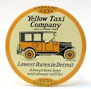 1920and039s Yellow Taxi Cab Company Detroit Advertising Paperweight Pocket Mirror