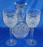 Waterford Crystal Artisan Decanter And Wine Goblet Crystal Glasses Set New