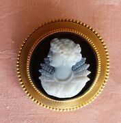 Victorian Hard Stone Silhouette Cameo Of A Lady In 14 K Yellow Gold Frame