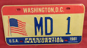 1981 District Of Columbia Md-1 Maryland Inaugural License Plate