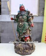 58 Cm Chinese Pure Brass Painted Dragon Guan Gong Guan Yu Soldier Warrior Statue