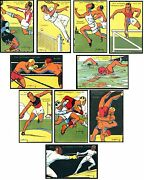 France 1924 Olympic Postcards Full Set Football Tennis Fencing Boxing Rare