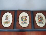 Rare Lg Set Of 3 Hummel Embroidered 14x11 Wood Framed Oval Glass Wall Pictures