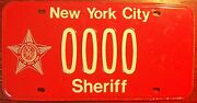 New York City Sheriff Sample 0000 License Plate With Star Nyc Manhattan Rare Tag