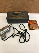 Vintage Home Utility Black And Decker 1/4 Electric Drill W/orig Case And Guide Book
