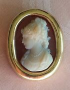 Antique Victorian Hard Stone Silhouette Of A Lady Cameo In 14 K Gold Frame