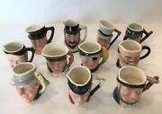 Sandland Character Ware Vintage Mini Toby Mugs Collection Of 11 Handpainted