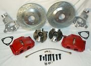 Aluminum Spindle Kit For Classic Gm Muscle Cars 13 C5 Drilled- Slotted Red