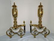 Antique American Brass Andirons - Signed William H. Jackson Ny 1908