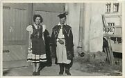 Hungarian Ethnic Young Couple Folk Costumes Real Photo Postcard Hungary