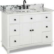 48 Savino Single Vanity In White With Matte Black Hardware And Marble Top