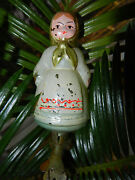 Old Russian Christmas Toy Glass Vintage Soviet Doll Girl In A Scarf Hand-painted