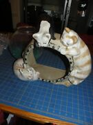 Louisville Stoneware Classy Cat Pattern Fish Bowl Holder With Bowl And Stones