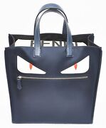 Fendi Menand039s Monster Creature Tech Fabric Tote Navy/red/white Msrp 1200