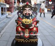 42 Cm Chinese Pure Brass Bronze God Of Wealth Fortune Mammon Fengshui Sculpture