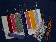 Fabric Or Cloth Bookmark, Ribbon, Variety Of Sizes And Styles Lot Of 11 Handmade