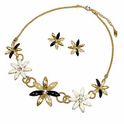 Gold Plated Rhinestone Crystals Faux Pearl Inlay Floral Multi Color Jewelry Set