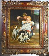Vintage Oil Painting Mother With Daughter Girl Dogs/puppies Canvas Carved Frame