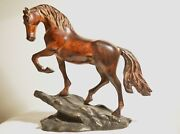 Vintage Brown Glaze Gallop Horse Bronze Brass Base Statue Sculpture