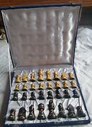 Chess Board Set Box Black And White Pieces Vintage Wooden Tournament Game India