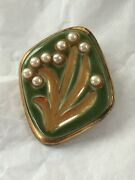 1970s Brooch Channel Islands Vintage Retro Mid Century Green Ceramic Faux Pearl