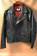 245 Topman Black Leather Biker Jacket Size M Made In India