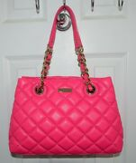 Kate Spade Bag Gold Coast Small Maryanne Zinnia Pink Quilted Leather Chain Strap