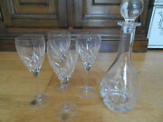 Toscany Toscane Crystal Qty 4 Wine Glasses And Decanter