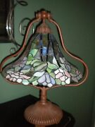 Perfect Unique Style 22 Tall Stained Glass Lamp Lotus Bell Rare Vintage
