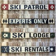 Set Of 4 Rustic Style 4 Ft. Ski Signs