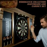 Barrington Premium Quality Bristle Dart Board And Cabinet Set With Led Lights And