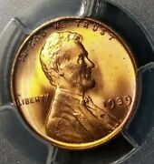 1939 Lincoln Cent Pcgs Ms67+rd Rainbow Toning - Spectacular