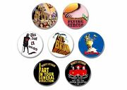 7 X Monty Python Badges, Buttons, Pins Flying Circus,life Brian,meaning Life