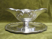 Gorgeous 19th C Napoleon 3 French Sterling Silver Sauce Boat 747gr Vine Leaves