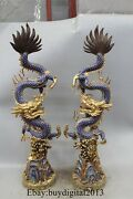 33 China Cloisonne Bronze 24k Gold Lucky Two Dragon Play Bead Statue Pair
