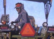 Original Oil Painting A Happy Farmer On His Tractor Listed Artist Nr