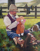 Original Oil Painting Cowboy Father Western Art Baby And Dog Listed Artist Nr