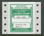 27 - Polk County Florida 2001-2002 Coin Operated Machine Tax Stamp