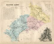 Genuine Original Antique 1877 France Hand Colored Map Hautes Alpes French Europe