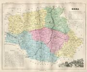 Genuine Original Antique 1877 France Hand Colored Map Gers French Europe
