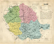 Genuine Original Antique 1877 France Hand Colored Map Tarn French Europe