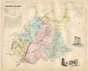 Genuine Original Antique 1877 France Hand Colored Map Basses Alpes French Europe