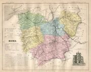 Genuine Original Antique 1877 France Hand Colored Map Eure French Europe