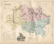 Genuine Original Antique 1877 France Hand Colored Map Allier French Europe