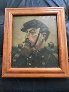 Signed Vtg Antique Civil War General William T Sherman By Pa Willis Oil Painting