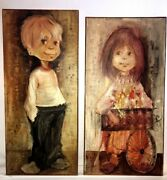 Big Eyed Boy And Big Eyed Girl Original Oil Paintings Mcm Vintage 1960and039s Signed