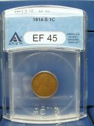 1914-s 1c Lincoln Wheat Penny Ana Ef45 Pleasing Chocolate Brown