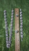 Vintage Taxco Silver Rose Flower Necklace, Bracelet And Earings Set 950 And 925