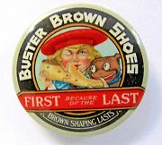 Scarce Early Buster Brown Shoes Miniature 1.25 Celluloid Pocket Mirror
